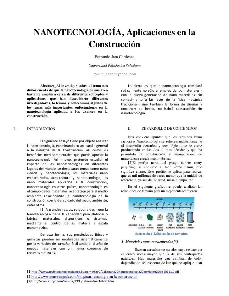 NANOTECNOLOGÍA, Aplicaciones en la Construcción<br />Fernando Jara Cárdenas<br />Universidad Politécnica Salesiana       <...