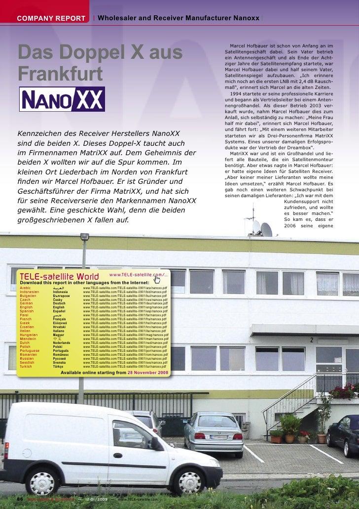COMPANY REPORT                          Wholesaler and Receiver Manufacturer Nanoxx     Das Doppel X aus                  ...