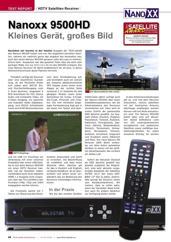 TEST REPORT                  HDTV Satelliten Receiver     Nanoxx 9500HD Kleines Gerät, großes Bild                        ...