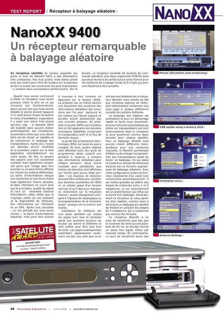 TEST REPORT                           Récepteur à balayage aléatoire     NanoXX 9400 Un récepteur remarquable à balayage a...