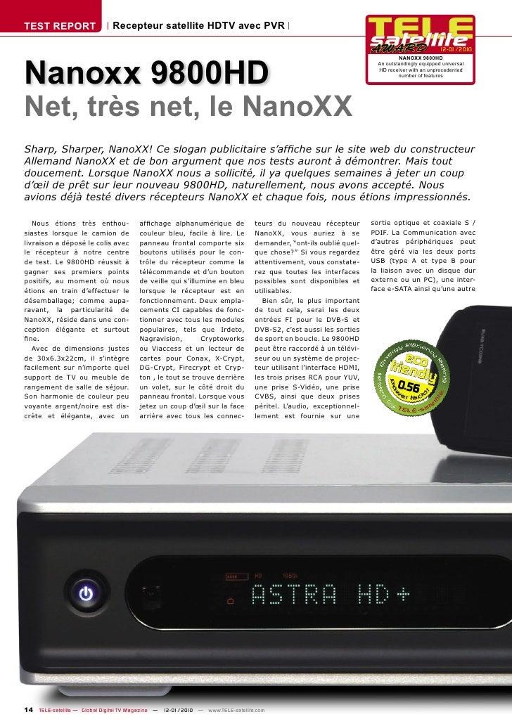 TEST REPORT                   Recepteur satellite HDTV avec PVR                                                           ...
