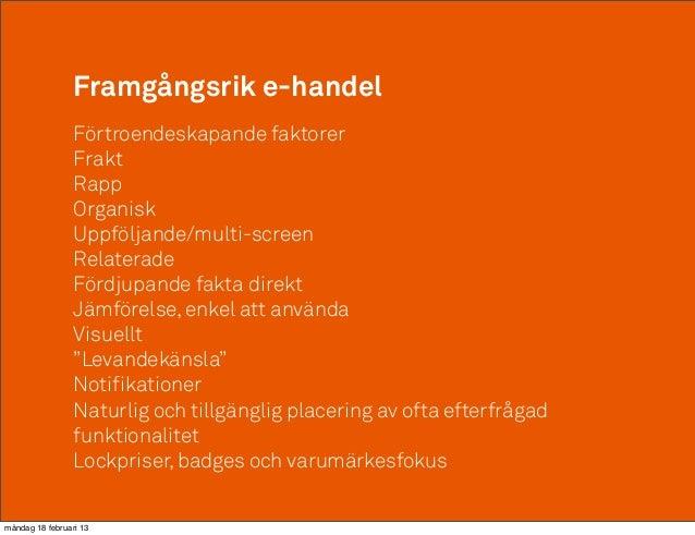 Framgångsrik e-handel                 Förtroendeskapande faktorer                 Frakt                 Rapp              ...