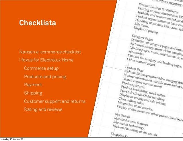 Checklista                 Nansen e-commerce checklist                 I fokus för Electrolux Home                        ...