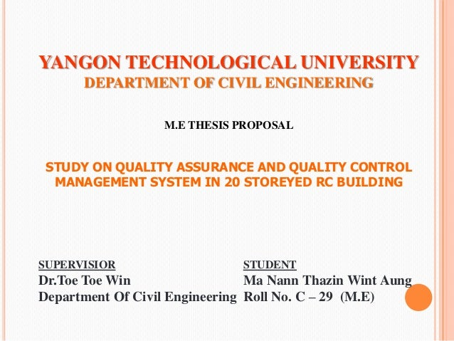 Thesis on quality management in construction