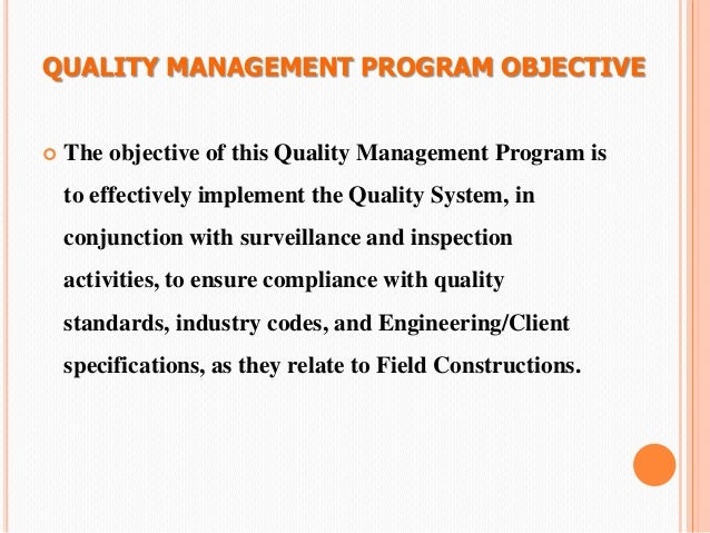 objective for quality assurance