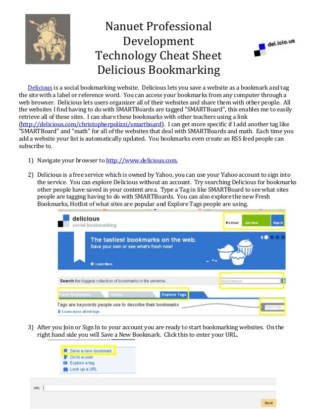 NanuetProfessional Development TechnologyCheatSheet DeliciousBookmarking   Deliciousisasocialbookmarkingweb...