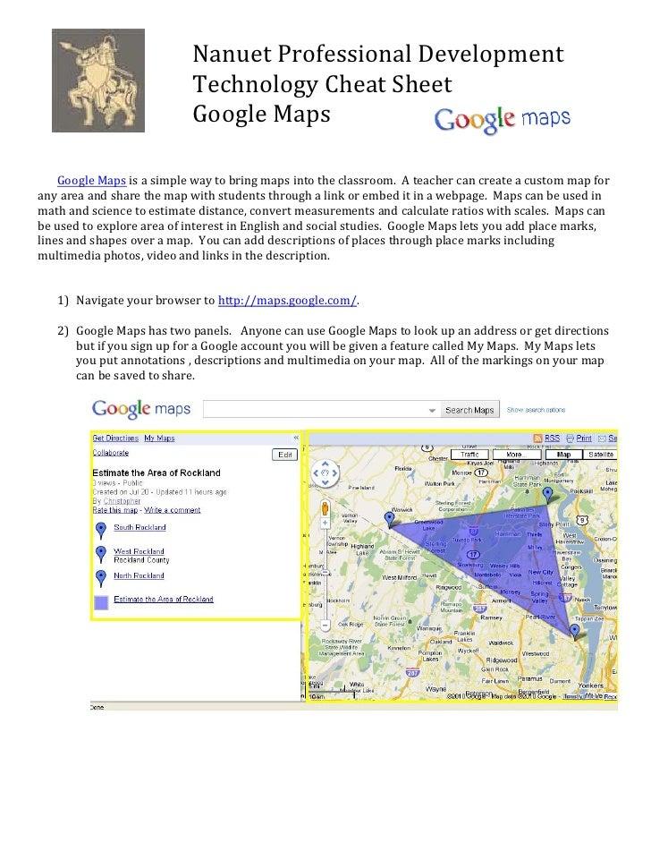 NanuetProfessionalDevelopment                            TechnologyCheatSheet                            GoogleMaps...
