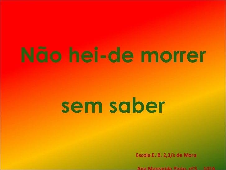 Não hei-de morrer  sem saber Escola E. B. 2,3/s de Mora  Ana Margarida Pinto, nº3  10ºA