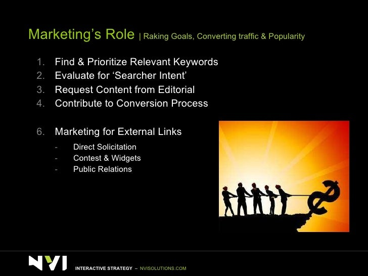 Marketing's Role    Raking Goals, Converting traffic & Popularity <ul><li>Find & Prioritize Relevant Keywords </li></ul><u...