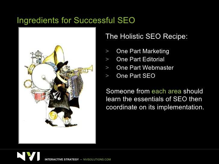 Ingredients for Successful SEO <ul><li>The Holistic SEO Recipe: </li></ul><ul><li>One Part Marketing </li></ul><ul><li>One...