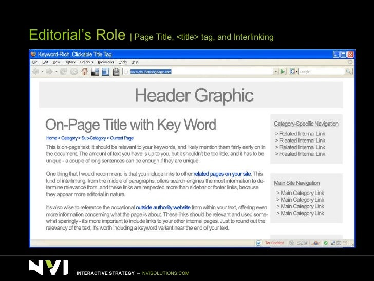 Editorial's  Role    Page Title, <title> tag, and Interlinking INTERACTIVE STRATEGY  –  NVISOLUTIONS.COM