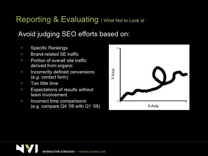 Reporting &  Evaluating    What Not to Look at Avoid judging SEO efforts based on: <ul><li>Specific Rankings  </li></ul><u...
