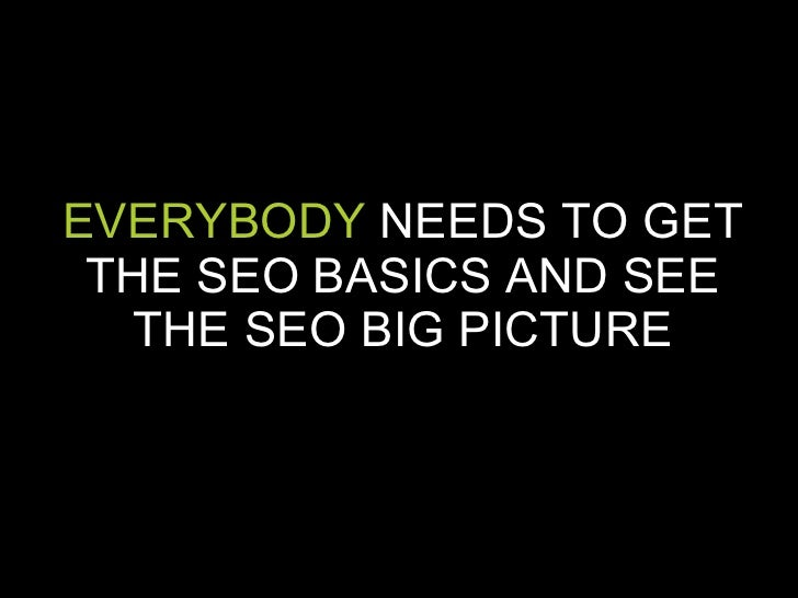EVERYBODY  NEEDS TO GET THE SEO BASICS AND SEE THE SEO BIG PICTURE