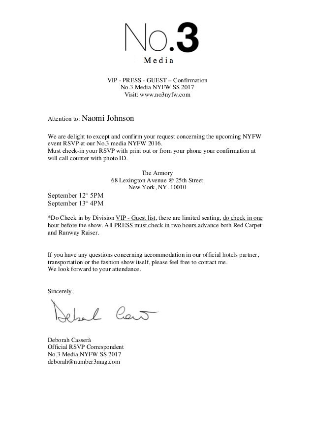 Nyfw Confirmation Letter