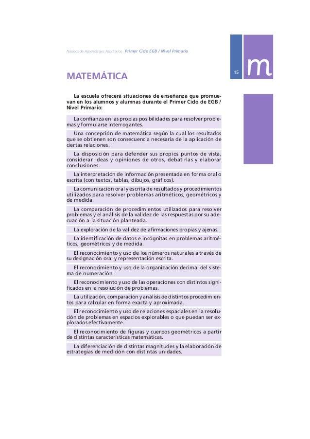 Ministerio de Educación, Ciencia y Tecnología  16 PRIMER AÑO m  1º EN RELACIÓN CON EL NÚMERO Y LAS OPERACIONES  Matemática...