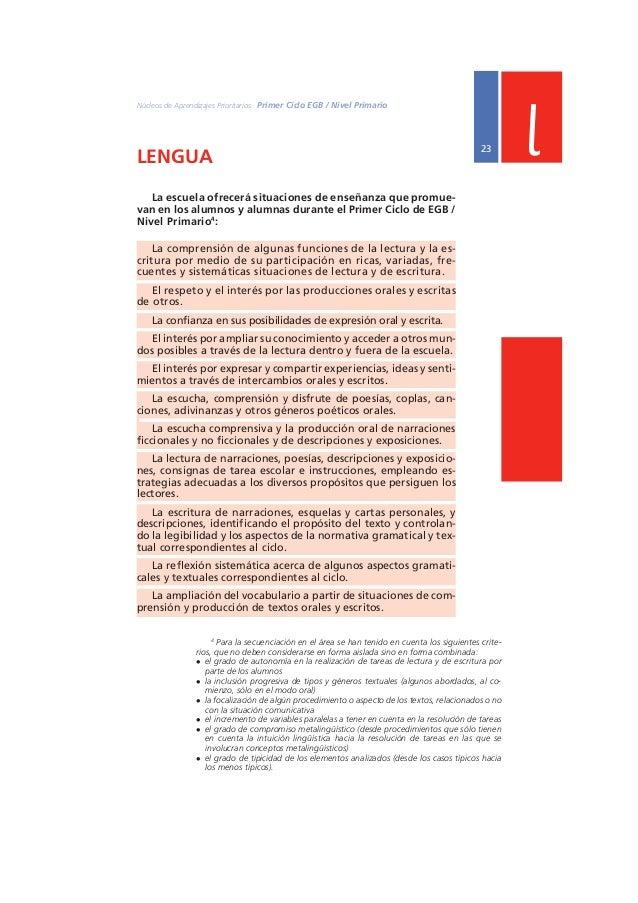 Ministerio de Educación, Ciencia y Tecnología  24 PRIMER AÑO l  Lengua / 1º año  1º  EN RELACIÓN CON LA COMPRENSIÓN Y PROD...