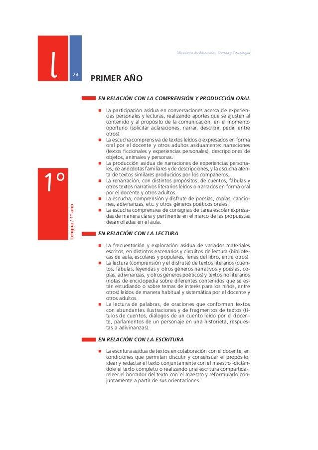 "Núcleos de Aprendizajes Prioritarios Primer Ciclo EGB / Nivel Primario  25  Lengua / 1º año  l  1º  "" La escritura de pala..."