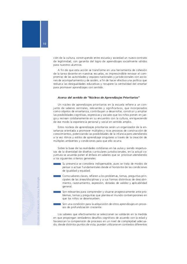 Núcleos de Aprendizajes Prioritarios Primer Ciclo EGB / Nivel Primario  11  de aquellos en los que fueron adquiridos y con...