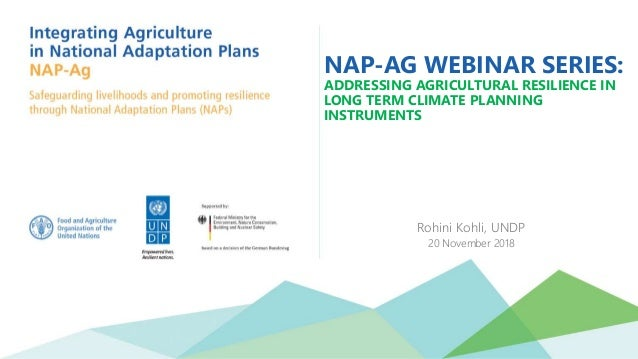NAP-AG WEBINAR SERIES: ADDRESSING AGRICULTURAL RESILIENCE IN LONG TERM CLIMATE PLANNING INSTRUMENTS Rohini Kohli, UNDP 20 ...