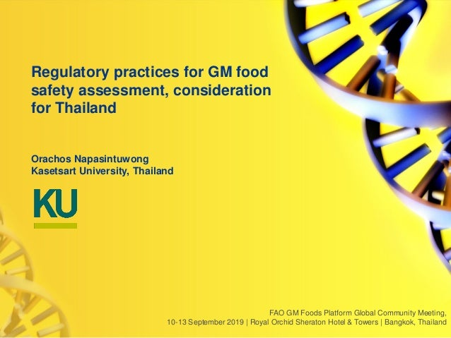 FAO GM Foods Platform Global Community Meeting, 10-13 September 2019 | Royal Orchid Sheraton Hotel & Towers | Bangkok, Tha...