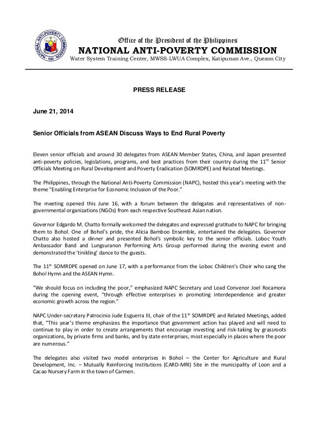 PRESS RELEASE June 21, 2014 Senior Officials from ASEAN Discuss Ways to End Rural Poverty Eleven senior officials and arou...