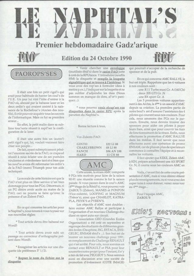 """Premier hebdomadaire GadzariqueiI1P"""" Edition du 24 Octobre 1990 itï-erIl était une fois un petit rigols quiavait pour habi..."""