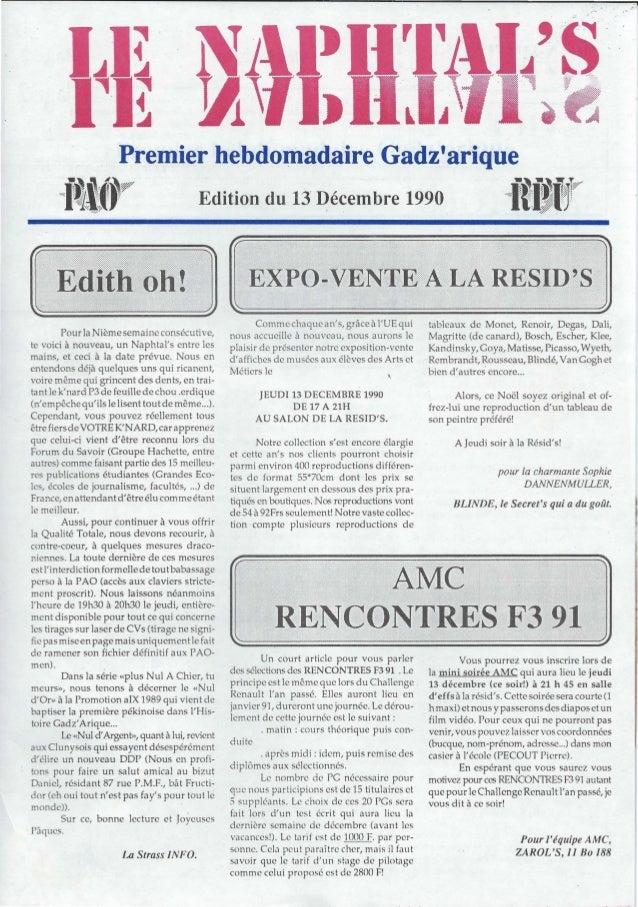 """.l ) - L~  •Premier hebdomadaire Gadzariquei~i.p Edition du 13 Décembre 1990 """"ffij,;rp""""Pour la Nième semaine consécutive,t..."""