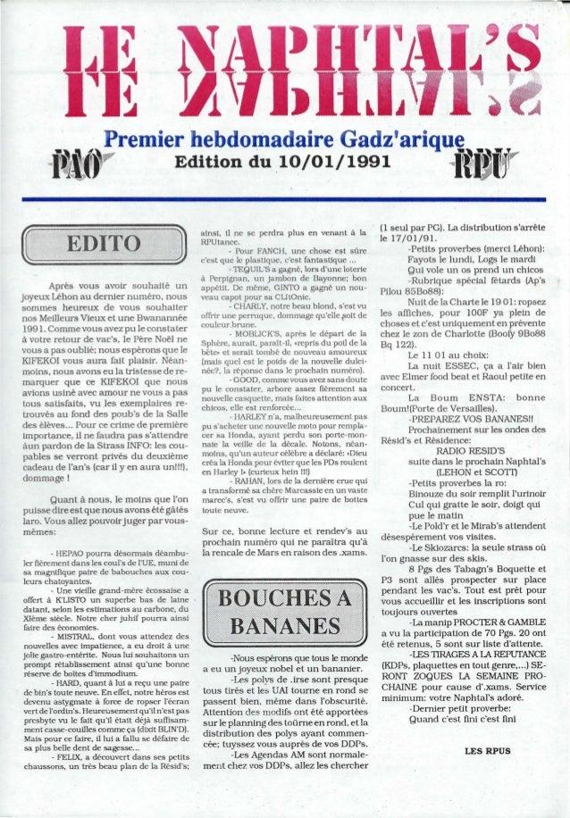 """--,...~. . .~ ::!remier hebdomadaire Gadzariquç . .,i~iff"""" . .Edition du 10/01/1991 iftjj~rAprès vous avoir souhaité unjoy..."""