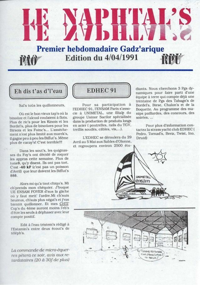 """Premier hebdomadaire Gadzarique""""i~i_P Edition du 4/04/1991jflf,TV""""Sars toüs les quillonneurs.Où est le bon vieux taps où l..."""