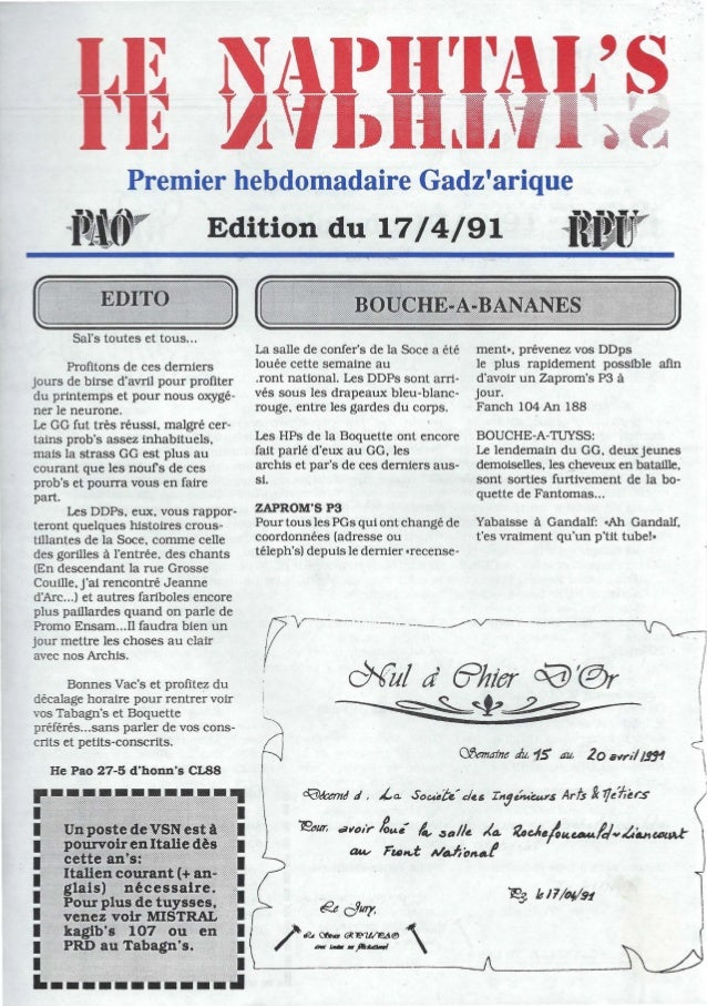 Premier hebdomadaire Gadzarique-fWr Edition du 17/4/91 _il1YSars toutes et tous...Profitons de ces derniersjours de birse ...
