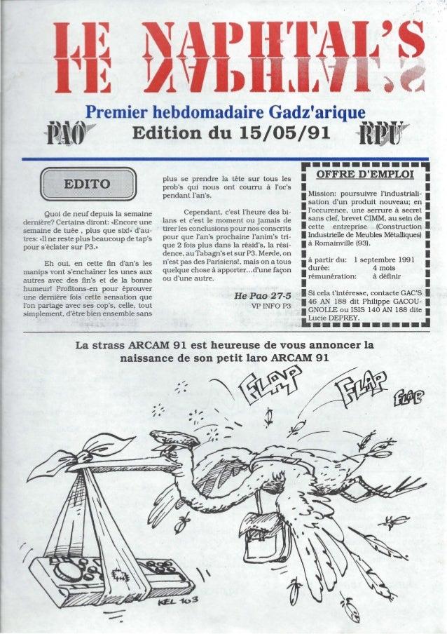 """,. 1( ~remier hebdomadaire Gadzarique""""ti.? Edition du 15/05/91iilfj""""Quoi de neuf depuis la semainedernière? Certains diron..."""