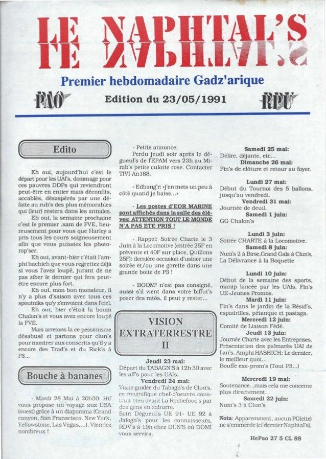 """J . 1111Premier hebdomadaire Gadzariquei~i~r Edition du 23/05/1991 i"""";;!""""Eh oui. aujourdhui cest ledépart pour les UArs. d..."""