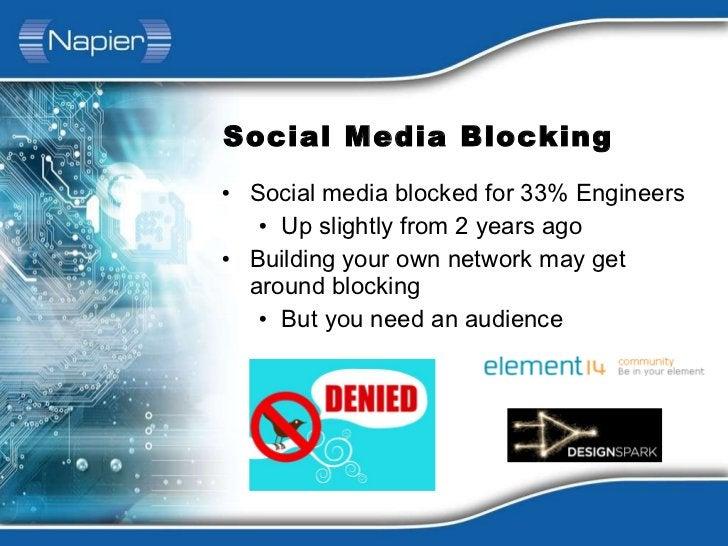 Social Media Blocking <ul><li>Social media blocked for 33% Engineers </li></ul><ul><ul><li>Up slightly from 2 years ago </...
