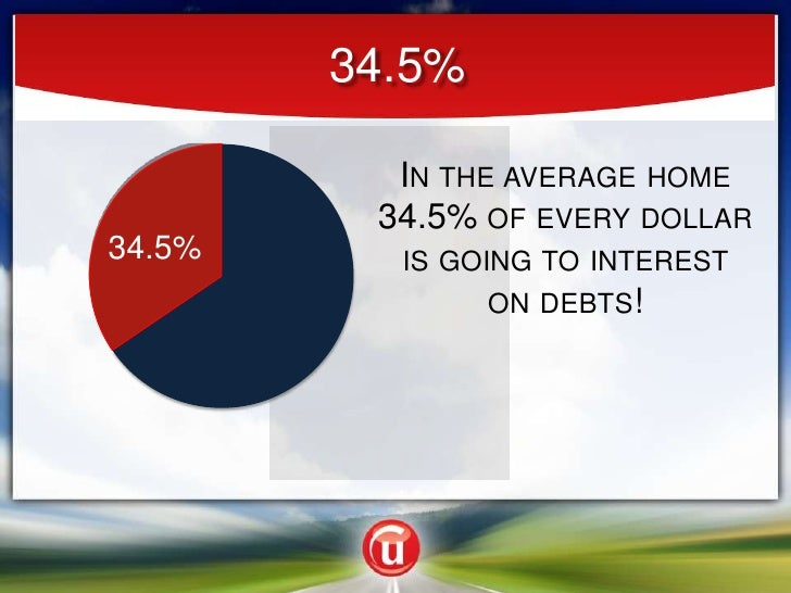 34.5%<br />In the average home 34.5% of every dollar is going to interest on debts!<br />34.5%<br />