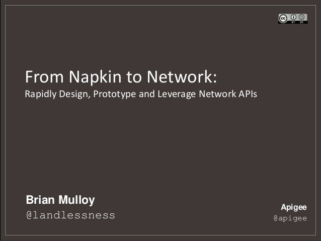 From Napkin to Network:Rapidly Design, Prototype and Leverage Network APIsBrian Mulloy                                    ...