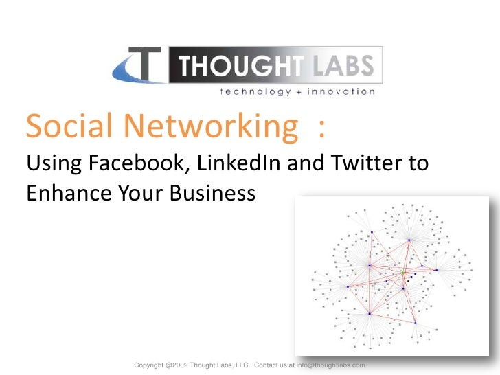 Social Networking  :<br />Using Facebook, LinkedIn and Twitter to Enhance Your Business<br />Copyright @2009 Thought Labs,...