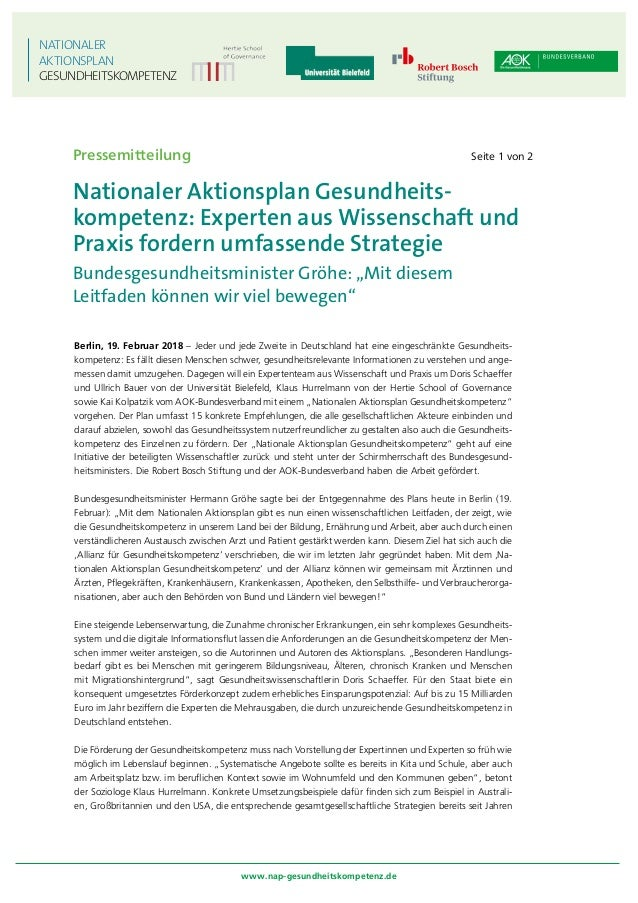 Gemeinsame Pressemitteilung des AOK-Bundesverbandes, der Hertie Schoo…