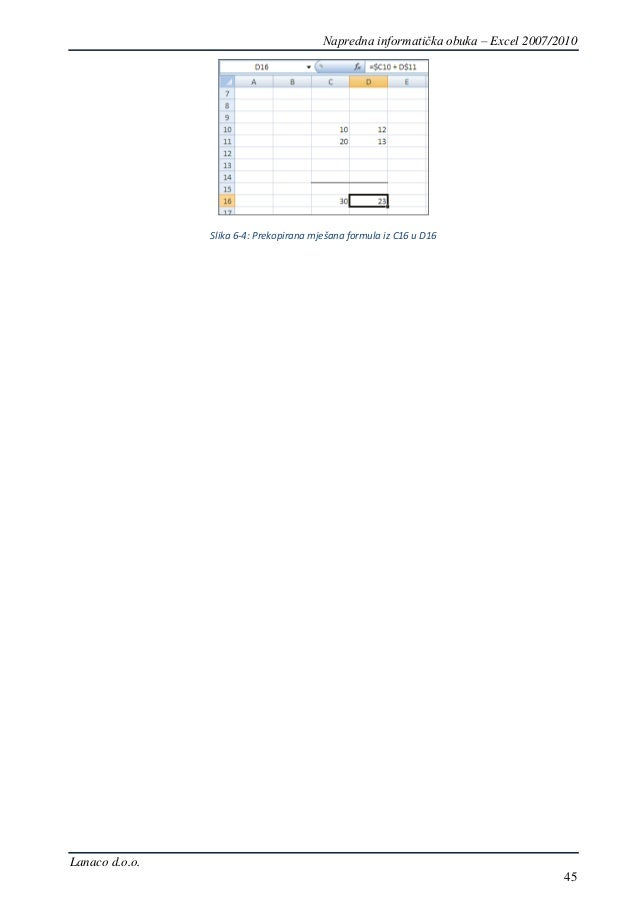 Napredni Excel 2007/2010