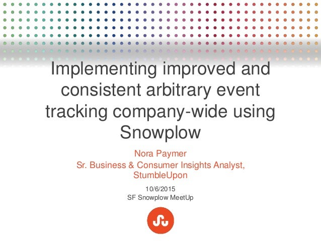 Implementing improved and consistent arbitrary event tracking company-wide using Snowplow Nora Paymer Sr. Business & Consu...