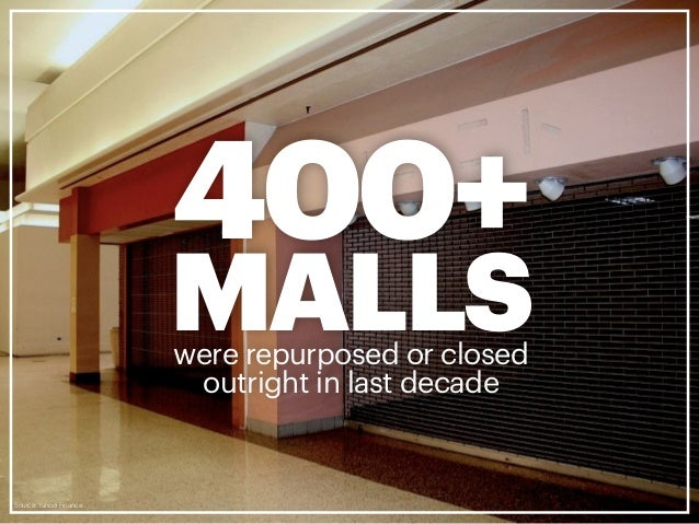 Green Street Advisors, June 2012 10%of the 1,000 malls in the U.S. will FAILin next 10 years