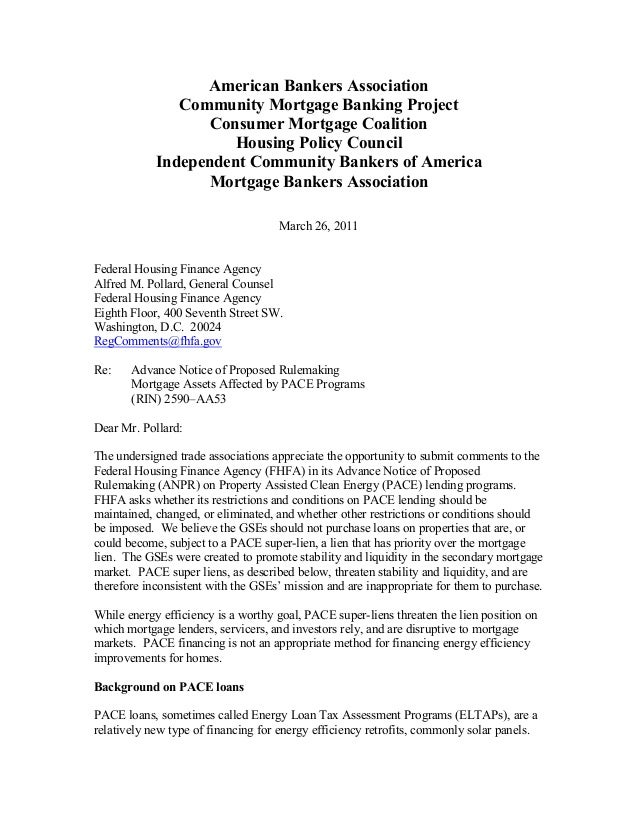 mortgage default letter template - nar mba fhfa comment letter