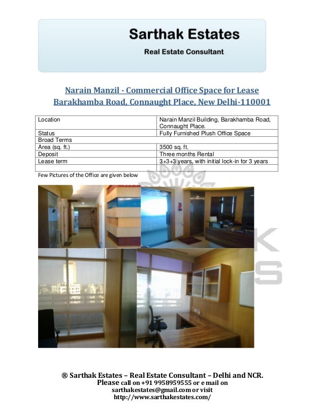 Narain Manzil - Commercial Office Space for Lease      Barakhamba Road, Connaught Place, New Delhi-110001Location         ...
