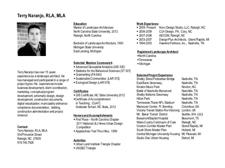 Terry NaranjoRegistered Landscape Architect Resume And Portfolio Of  Selected Works; 2.  Landscape Architect Resume