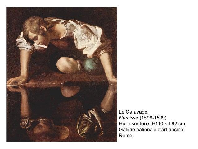 Le Caravage, Narcisse (1598-1599) Huile sur toile, H110 × L92 cm Galerie nationale d'art ancien, Rome.