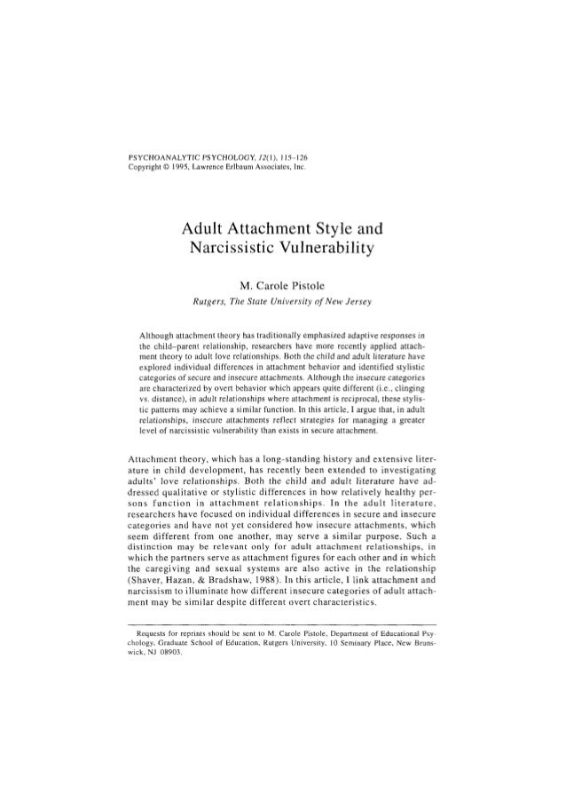 PSYCHOANALYTIC PSYCHOLOGY, 12(), 115-126Copyright © 1995, Lawrence Erlbaum Associates, Inc.               Adult Attachment...