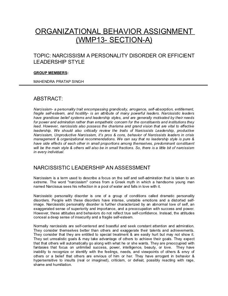 ORGANIZATIONAL BEHAVIOR ASSIGNMENT         (WMP13- SECTION-A)TOPIC: NARCISSISM A PERSONALITY DISORDER OR EFFICIENTLEADERSH...