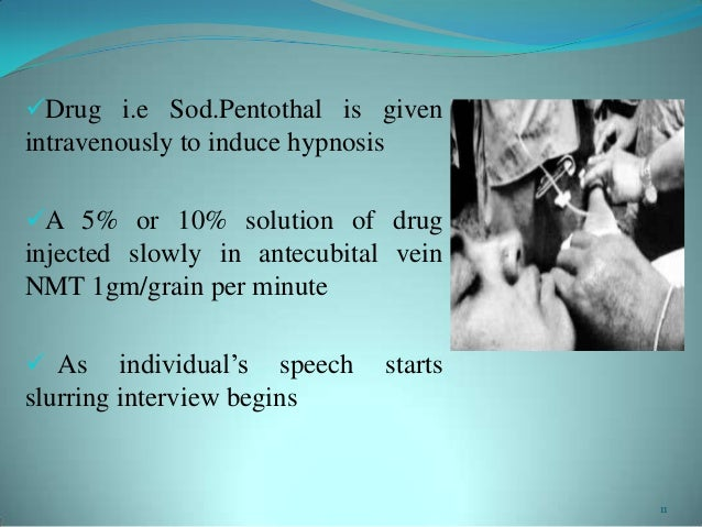 Drug i.e Sod.Pentothal is givenintravenously to induce hypnosisA 5% or 10% solution of druginjected slowly in antecubita...