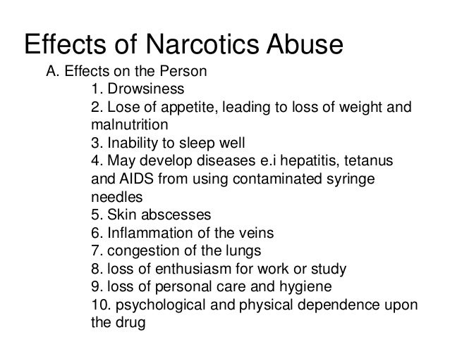 Narcotics it's negative effects