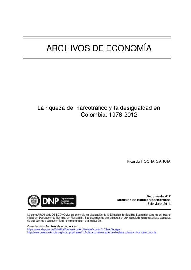 Narcotráfico y desigualdad en Colombia 1976 2012