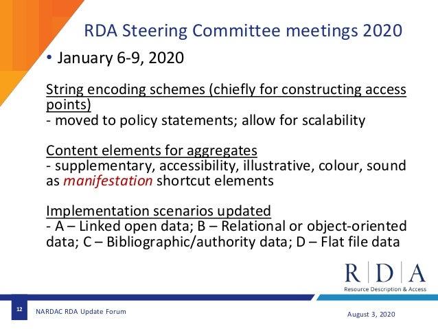 RDA Steering Committee meetings 2020 12 August 3, 2020NARDAC RDA Update Forum • January 6-9, 2020 String encoding schemes ...